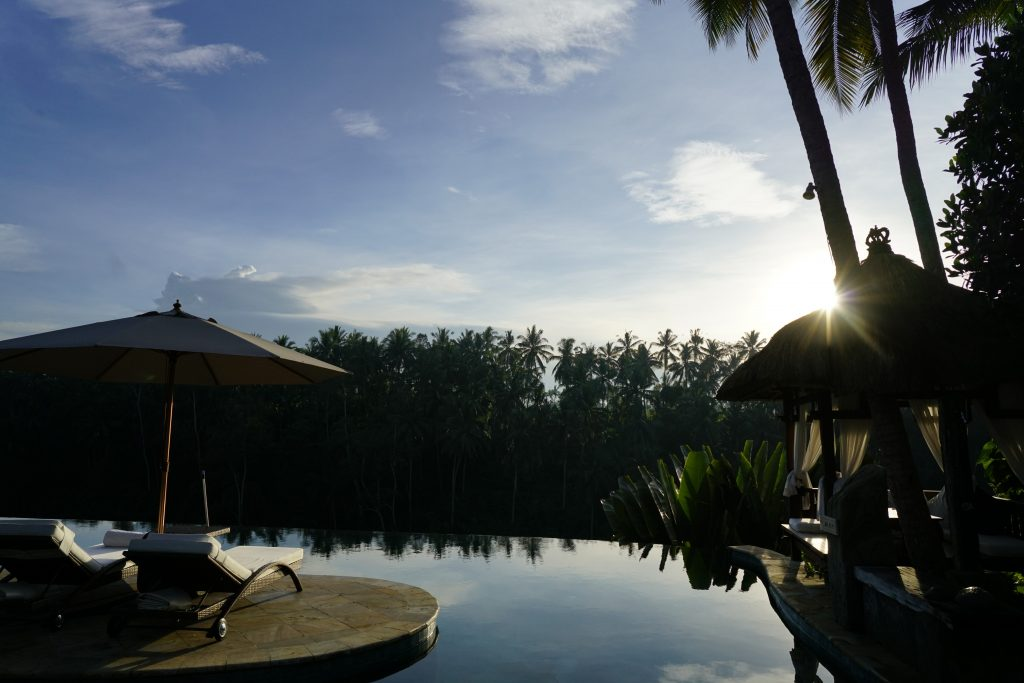 Early morning sunrise at the Viceroy Bali main pool area