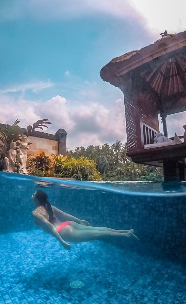 Swimming in the Viceroy Bali deluxe terrace villa private plunge pool