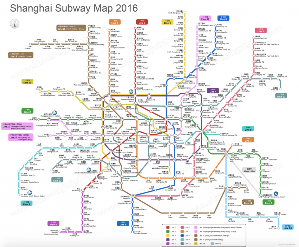 Subway map of Shanghai, China