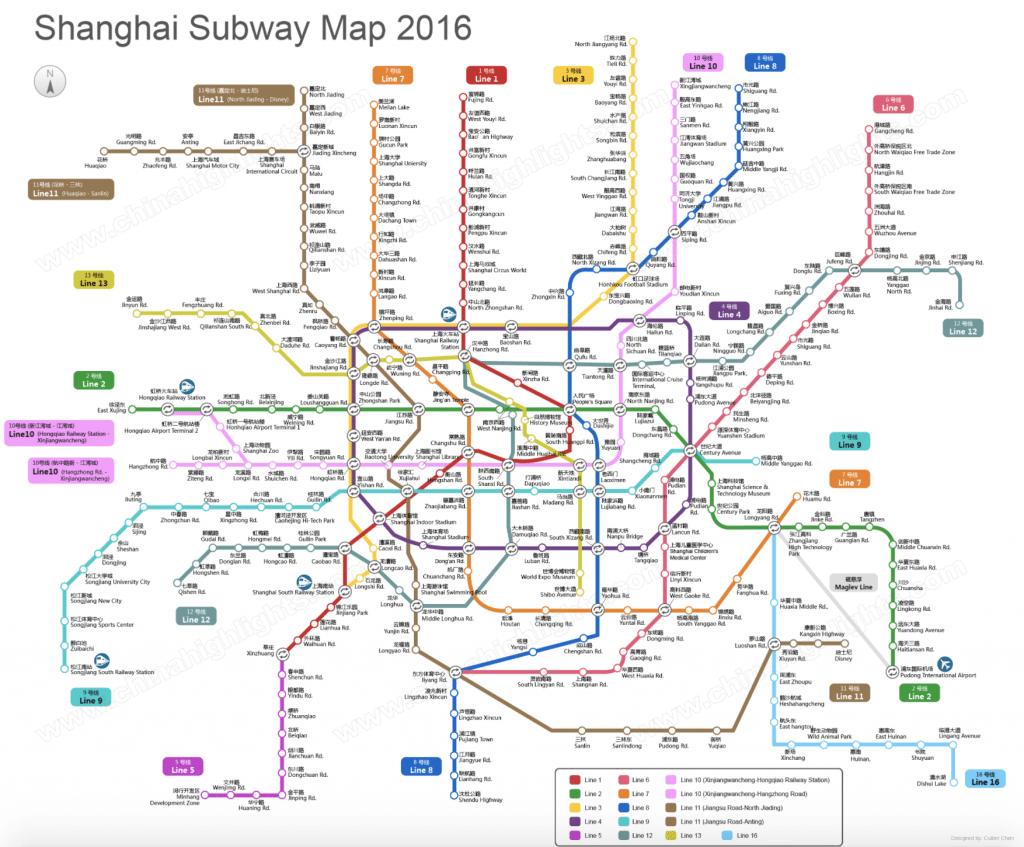 Subway map of Shanghai, China
