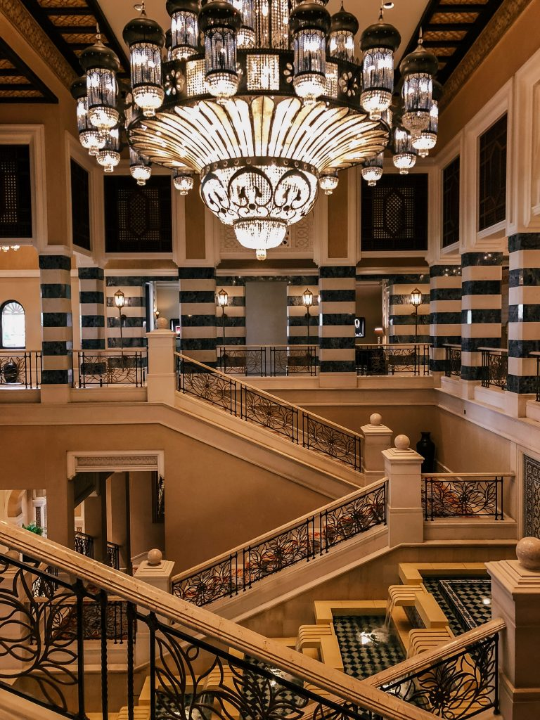 Jumeirah Al Qasr marble hallways and Swarovski crystal chandelier