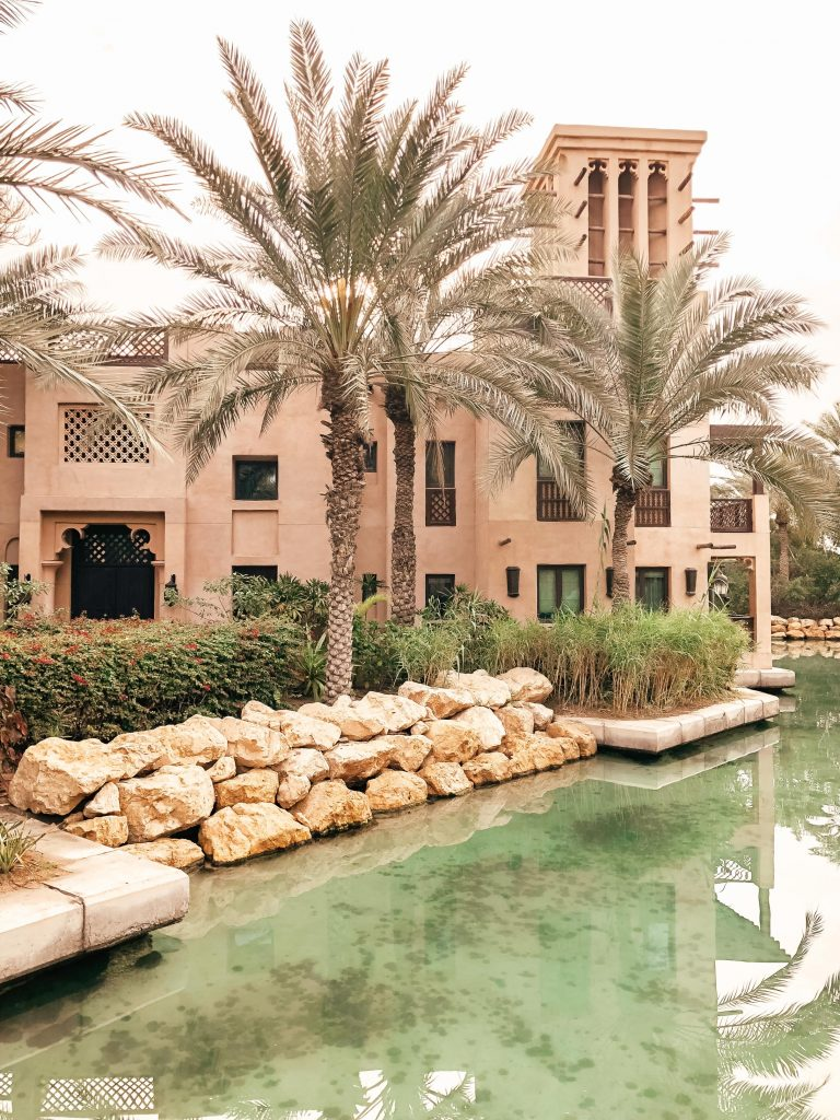 Villa at Jumeirah Dar Al Masyaf surrounded by see through turquoise waterways