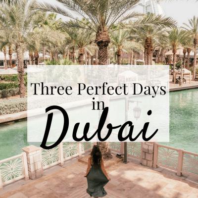 Three Perfect Days in Dubai featured image Elona the Explorer running down stairs of Jumeirah Al Qasr