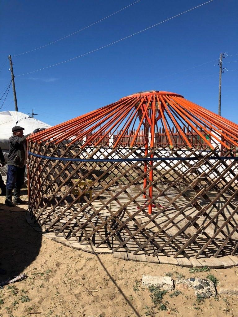 construction of a Mongolian yurt
