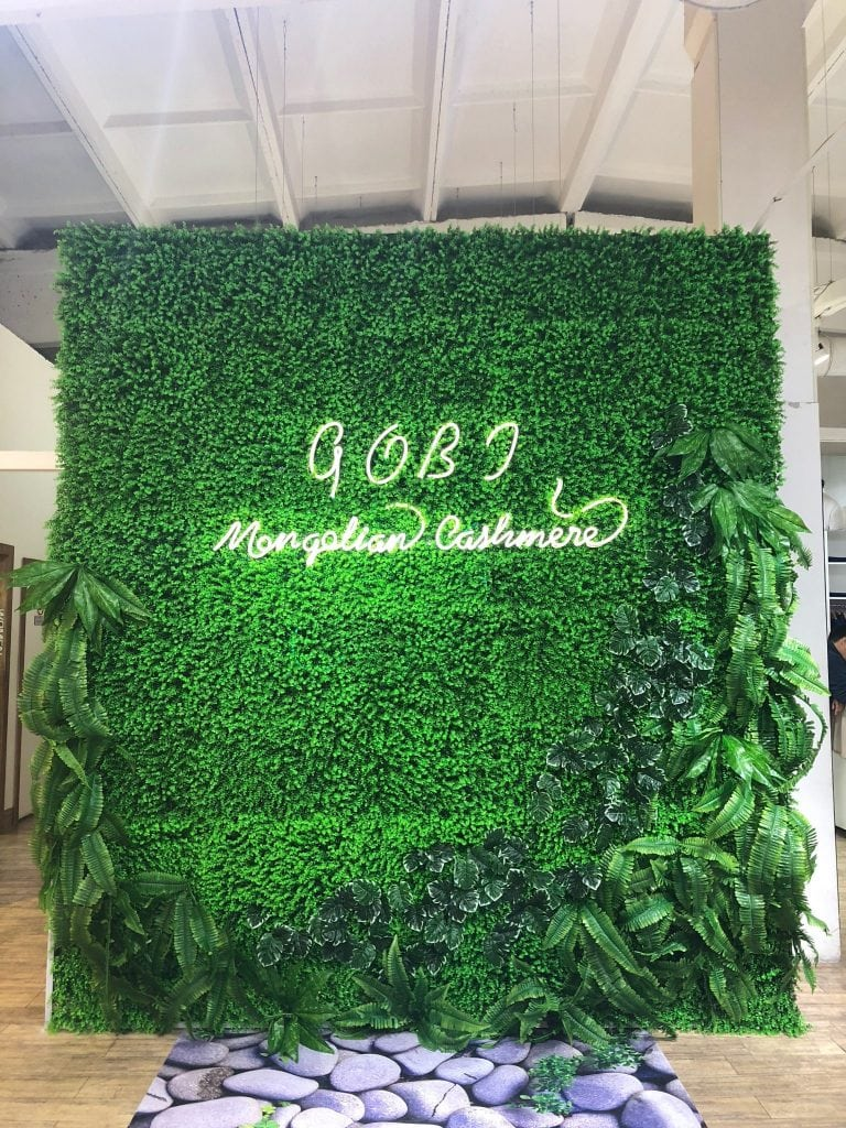 Floral wall at Gobi Cashmere Store in Mongolia