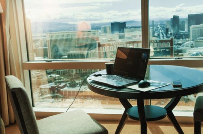 Lap top hotel desk nice view