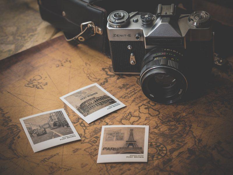 Polaroid photos on the table