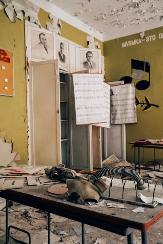 Abandoned schools in the Chernobyl Exclusion Zone still have notebooks and supplies.