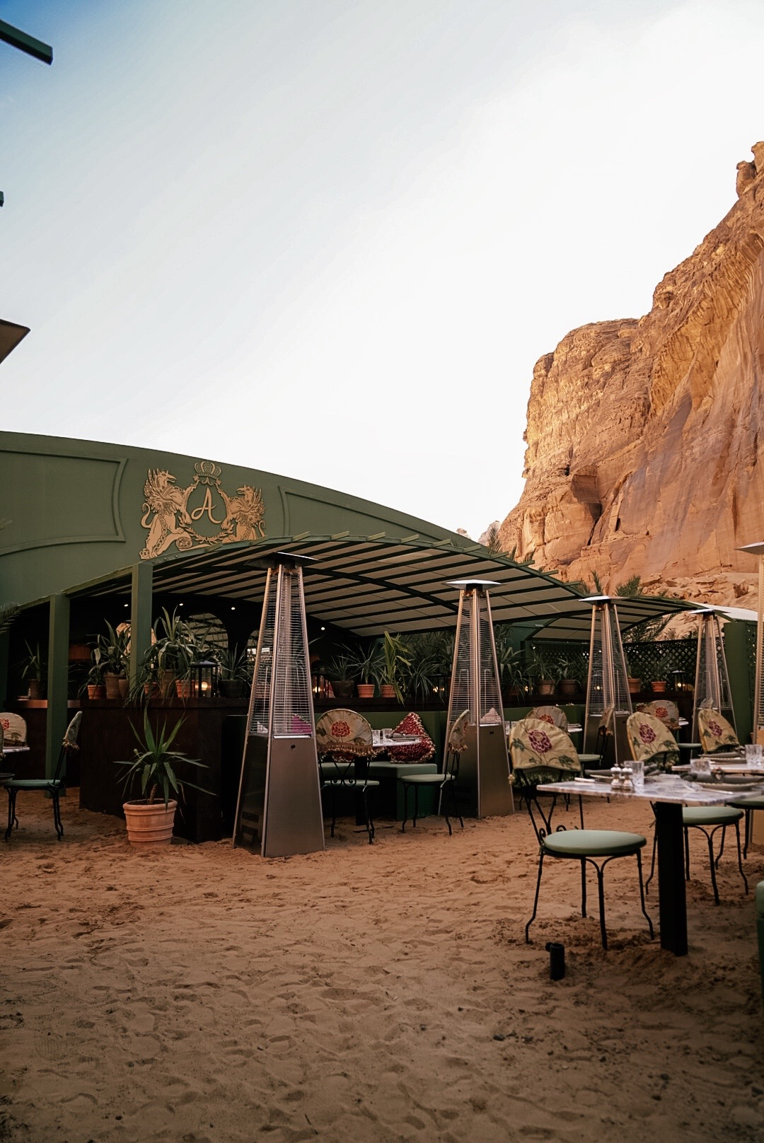 Annabel's pop up restaurant in the mountains in Al Ula Saudi Arabia