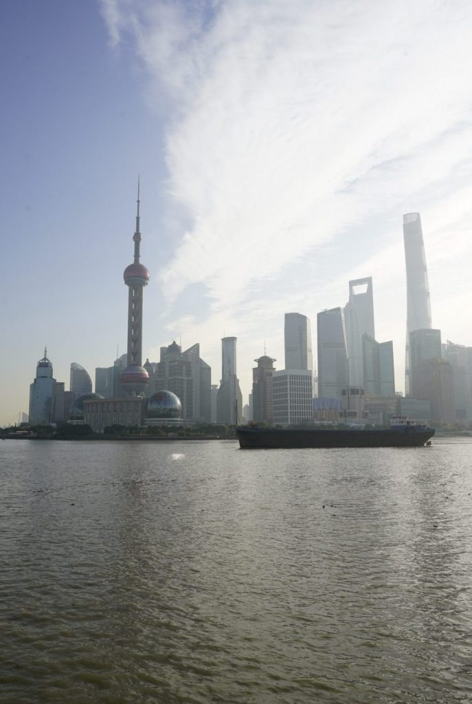View of the Oriental Pearl Tower from The Bund in Shanghai